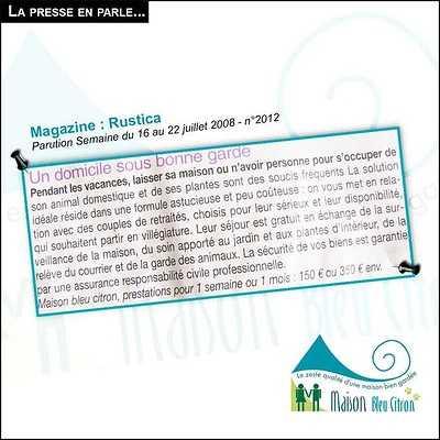 Home sitting : une mise en relation entre retraités bénévoles et propriétaires article